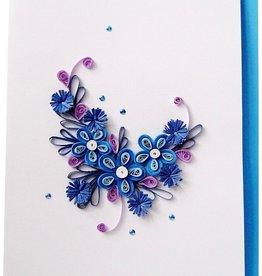 Quilling Papier, Grußkarten, 3D Karten Blumen, Geburtstagskarten, Muttertagskarten, Dankeskarten, Gute Besserung, Hochzeitkarte, blaue Blumen
