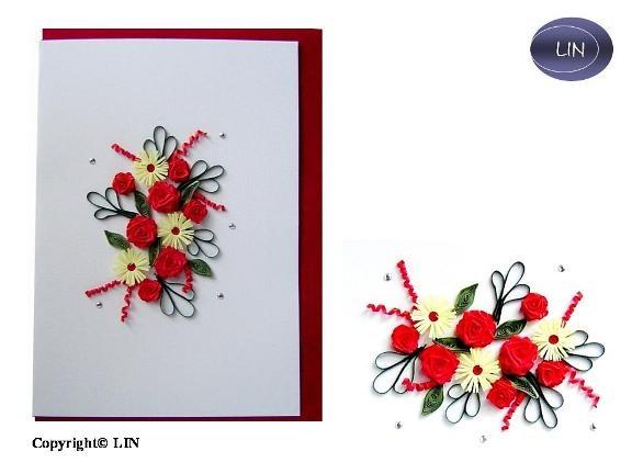 Quilling Papier, Grußkarten, 3D Karten Blumen, Geburtstagskarten, Muttertagskarten, Dankeskarten, Gute Besserung, Hochzeitkarte, Blumen,