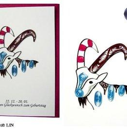 Quilling Papier, Grußkarte, 3D Karten, Geburtstagskarte, Handgemachte Karte, Sternzeichen Steinbock