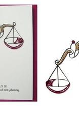 Quilling Papier, Grußkarte, 3D Karten, Geburtstagskarte, Handgemachte Karte, Sternzeichen Waage - Copy - Copy