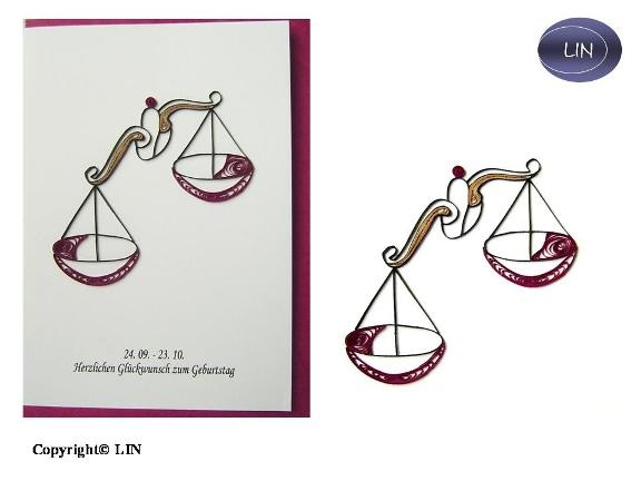 Quilling card zodiac Libra - Copy - Copy