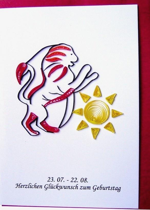 Quilling Papier, Grußkarte, 3D Karten, Geburtstagskarte, Handgemachte Karte, Sternzeichen Löwe