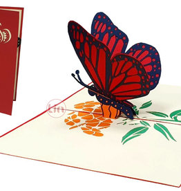 Pop Up Card Butterfly, Birthday cards, Pop Up 3D  cards Butterfly Flowers, 3D cards nature, Greeting cards Birthday, Motherdays card, Butterfly red