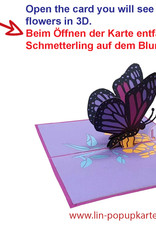 LIN 17658, Pop Up Card Butterfly, Pop Up Card Birthday, Motherdays, Greetings card, Butterfly Purple, N384
