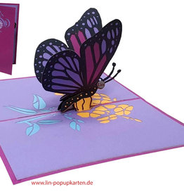 LIN Pop Up Card, Greeting cards, Birthday, Congratulations, Butterfly, N384