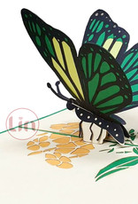 LIN 17657, Pop Up Card Butterfly, Pop Up Card Birthday, Motherdays, Greetings card, Butterfly green, N383