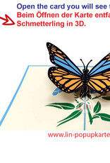 LIN 17656, Pop Up Card Butterfly, Pop Up Card Birthday, Motherdays, Greetings card, Butterfly blue, N382