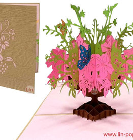 3D Pop Up Greeting Card, Best Wishes, Birthday, Mother's Day, Pink Flowers in a Vase, N379