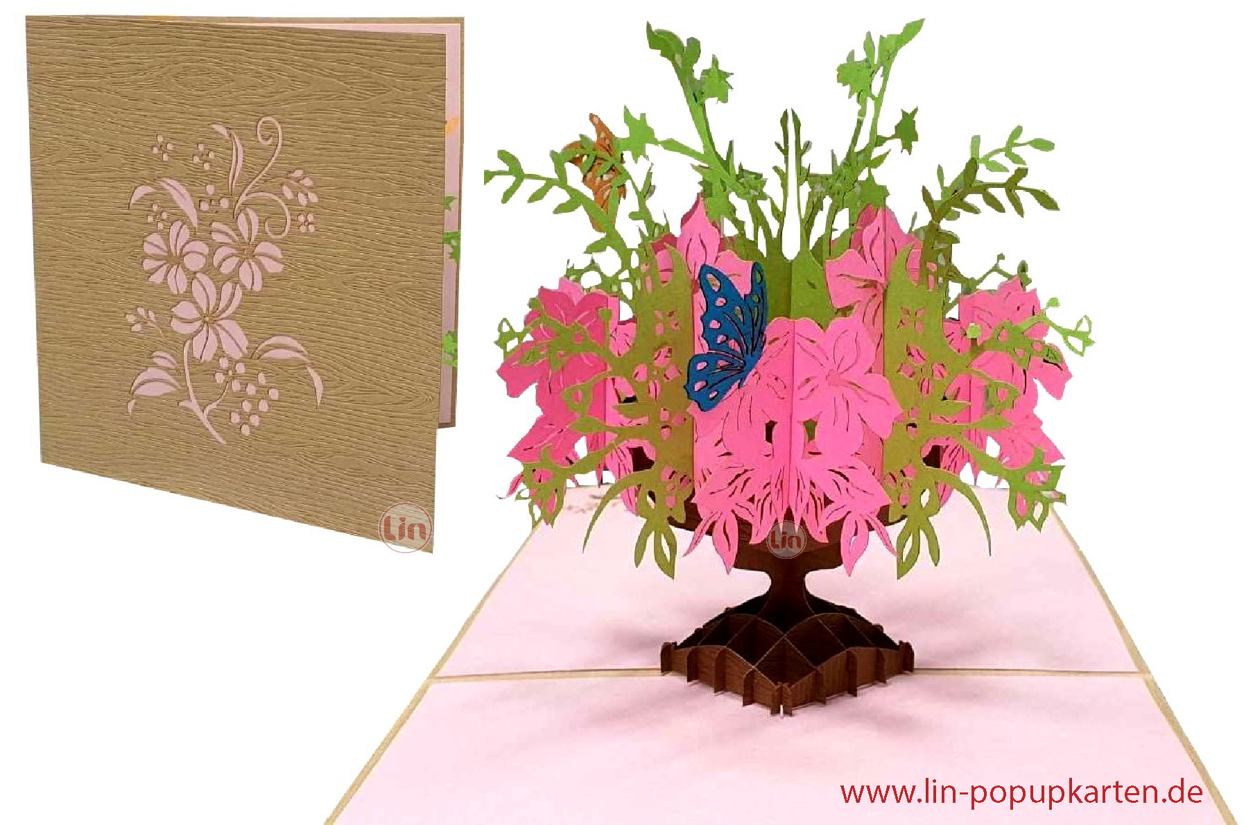 LIN17652, 3D Pop Up Greeting Card, Best Wishes, Birthday, Mother's Day, Thank You, Good Luck, Flowers, Pink Flowers in a Vase, N379