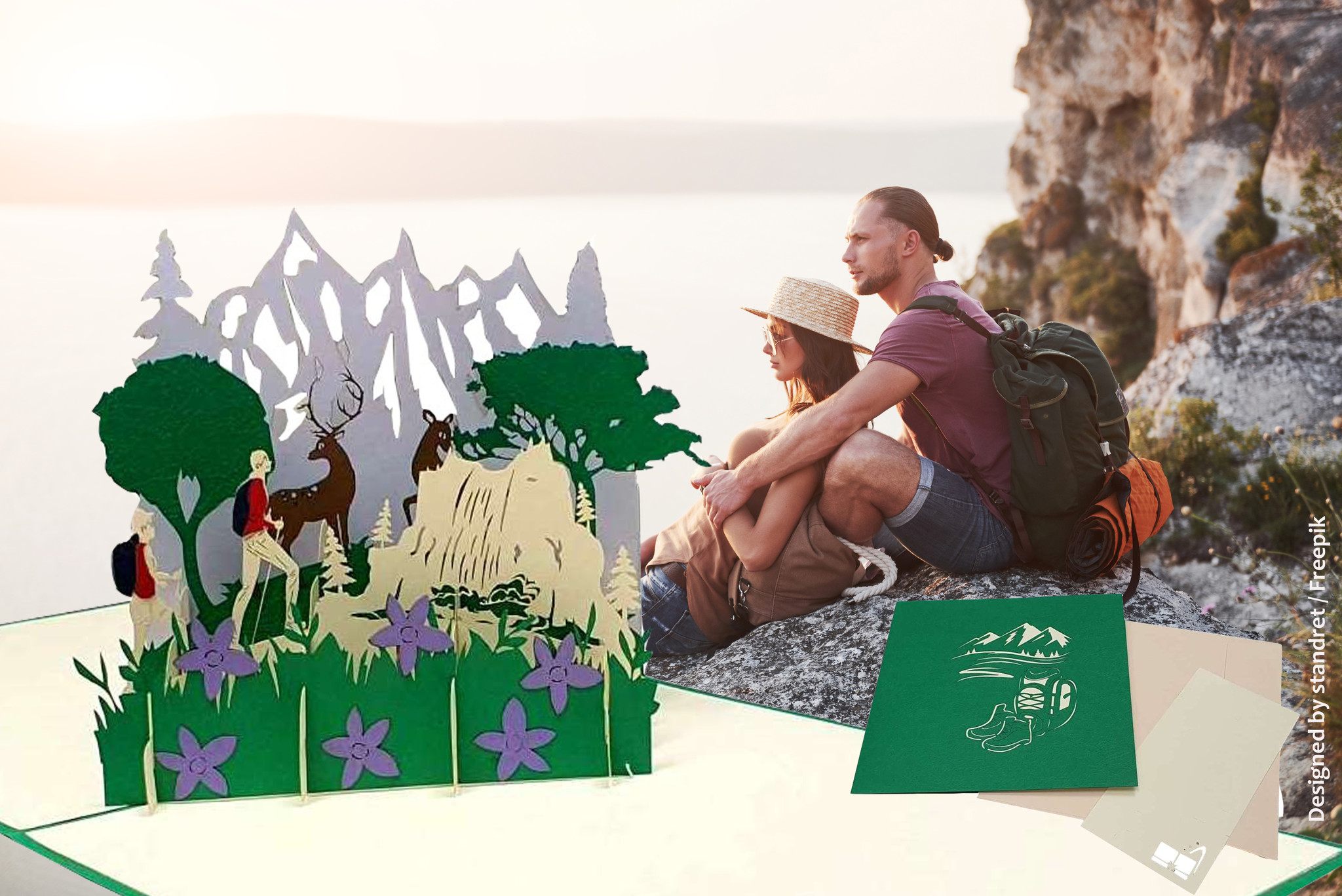LIN17649, 3D Pop Up Greeting card, Congratulations, Travel Voucher, Hiking Voucher, Hiker and Stag, N377