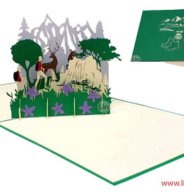 3D Pop Up Greeting card, Congratulations, Travel Voucher, Hiking Voucher, Hiker and Stag, N377