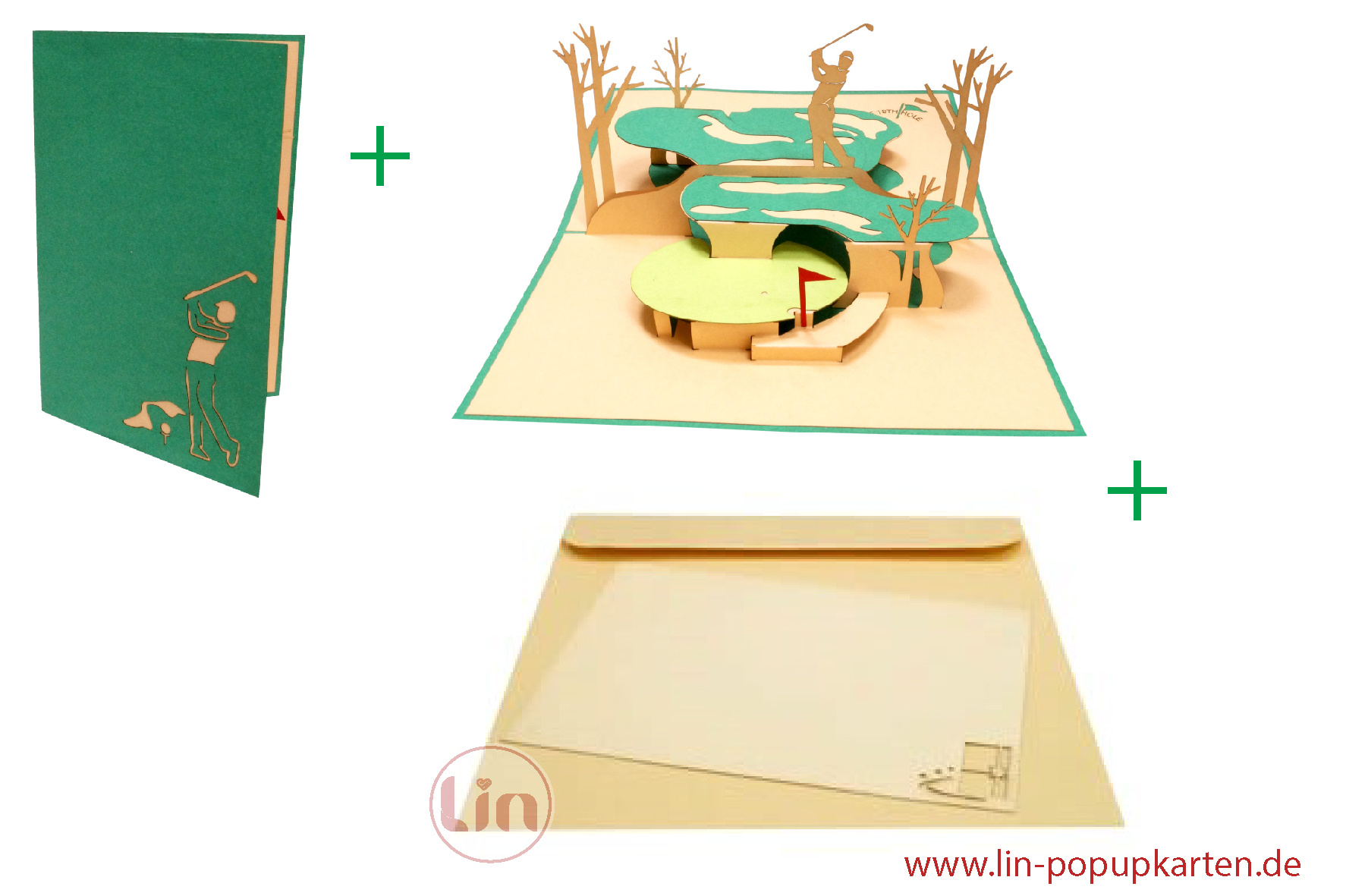 LIN17596, 3D Pop Up Card, Birthday Card, Congratulations, Retirement, Golfing, N350