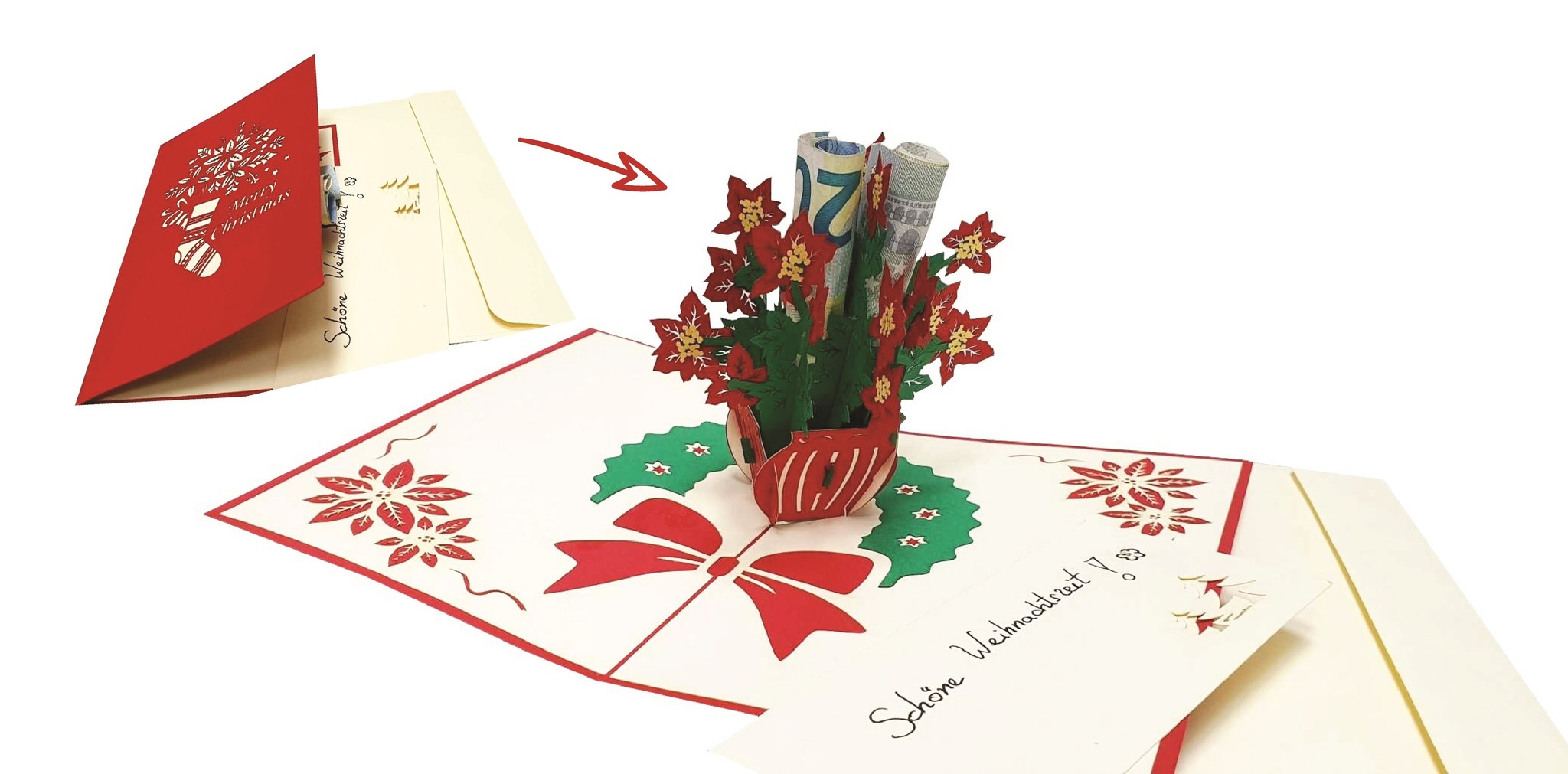 LIN17661, 3D Pop Up cards, Christmas cards, Season Greetings, Holiday Wishes, Pointsettia, N456