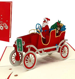 3D Pop Up cards, Christmas cards,  Santa Claus driving Oldtimer, N457