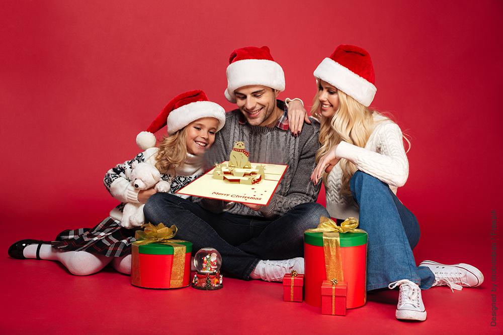 Pop Up 3D Karte, Weihnachtskarte, Glückwunschkarte, Eisbär, N415