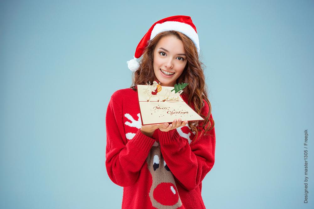 Pop Up 3D Karte, Weihnachtskarte, Glückwunschkarte, Weihnachtsmann Rentier, N411