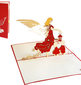 Pop Up Card - Christmas Angel with Children (No. 446)