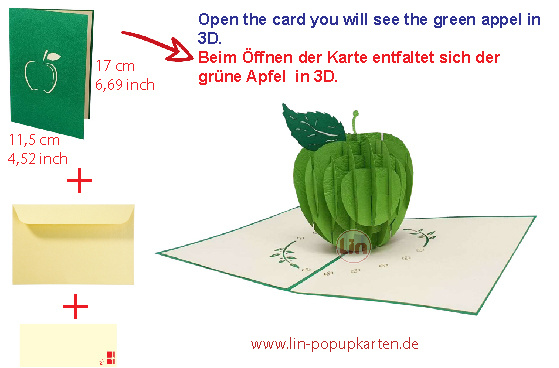 LIN17650, POP UP cards, POP UP 3D cards get well soon, 3D greeting cards apple, 3D card folded card birthday card, green apple, N378