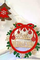 LIN17100, Weihnachtsdekoration, Türhänger, Weihnachtsbaumornament, Schneeflocke, Holz, Baumschmuck, N901