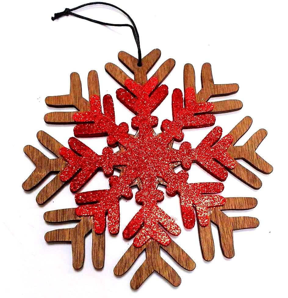LIN17100, Christmas decoration, door hanger, Christmas tree ornament, snowflake, wood, tree decoration, N901