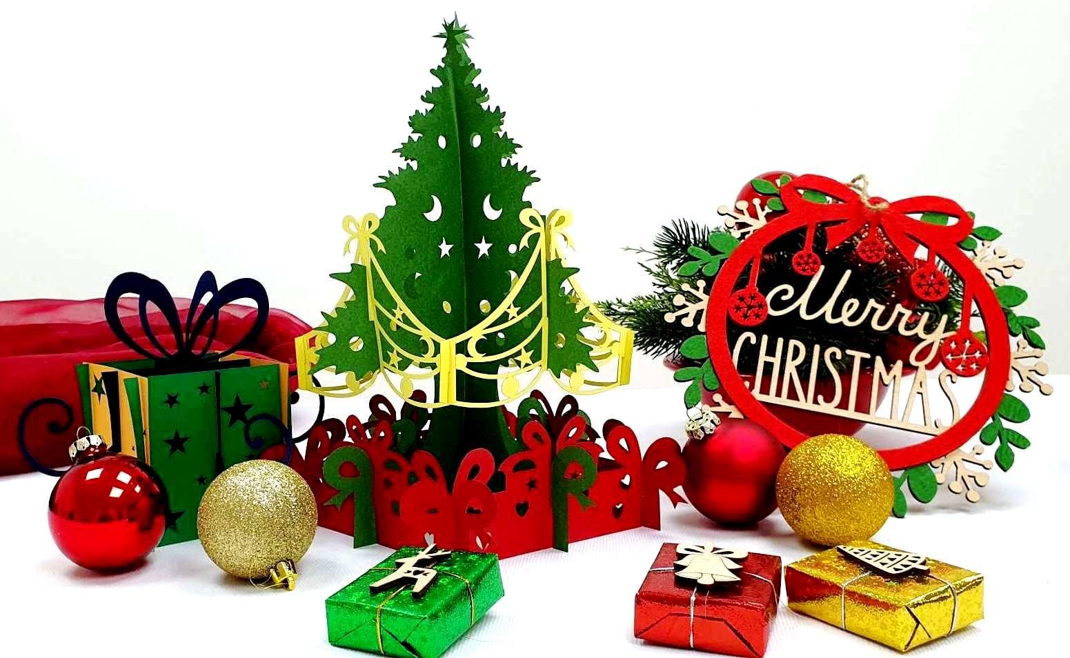LIN DIY, 3D Pop Up Puzzle, Weihnachtsbasteln, Weihnachtsdekoration, Klappbarer Tannenbaum, Weihnachtsbaum