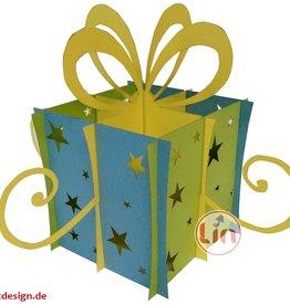LIN DIY, 3D Pop Up Puzzle, Weihnachtsgeschenk, Weihnachtsdekoration, Klappbare Geschenkbox, Geschenk (Gelb-Hellblau)