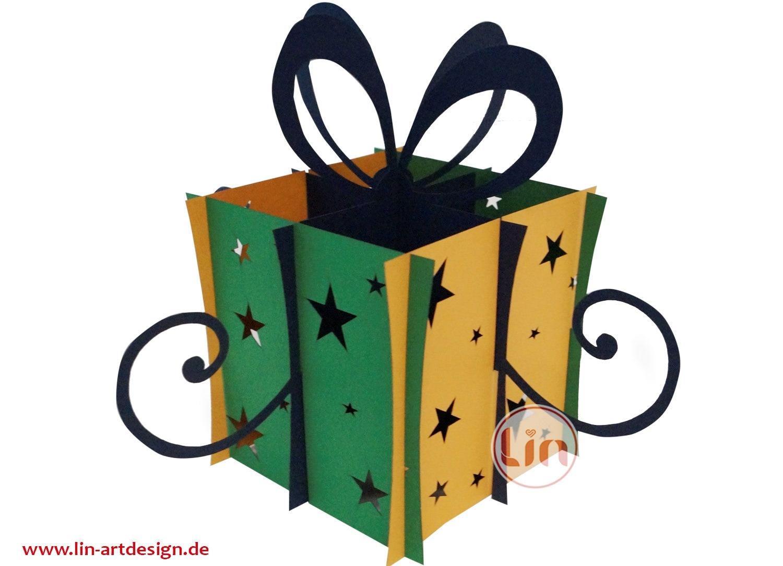 LIN DIY, 3D Pop Up Puzzle, Weihnachtsgeschenk, Weihnachtsdekoration, Klappbares  Geschenk (Grün-Orange)