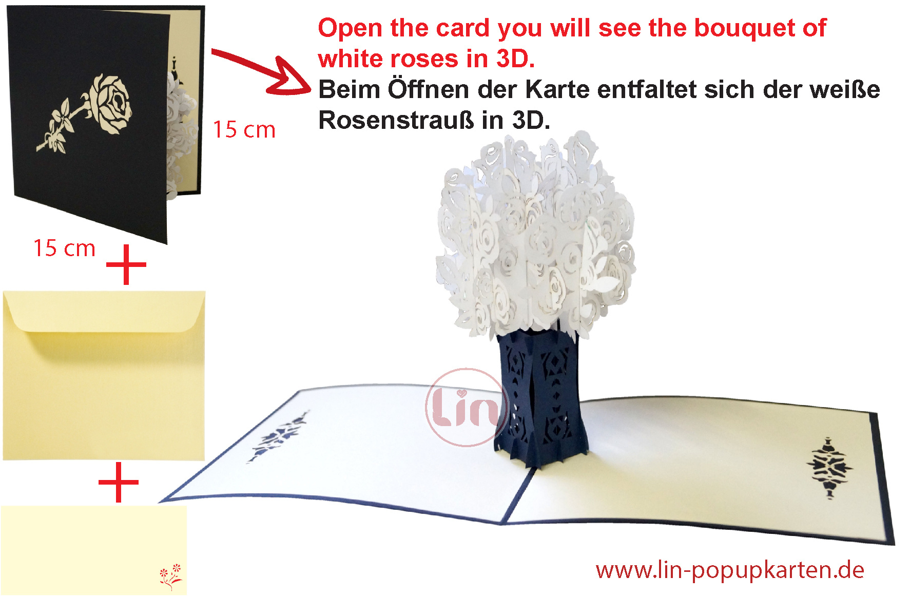 LIN17636, POP UP Card Flowers, Condolences, Greeting Card Condolence, Empathy Card, commemoration Card, White Roses, N367