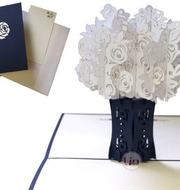 Pop Up 3D Card, Condolences,  Greeting Card Condolence, Sympathy Cards, White Roses, N367