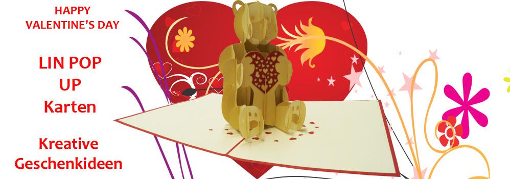 LIN POP UP Karten Valentine Liebe Hochzeit Geschenk