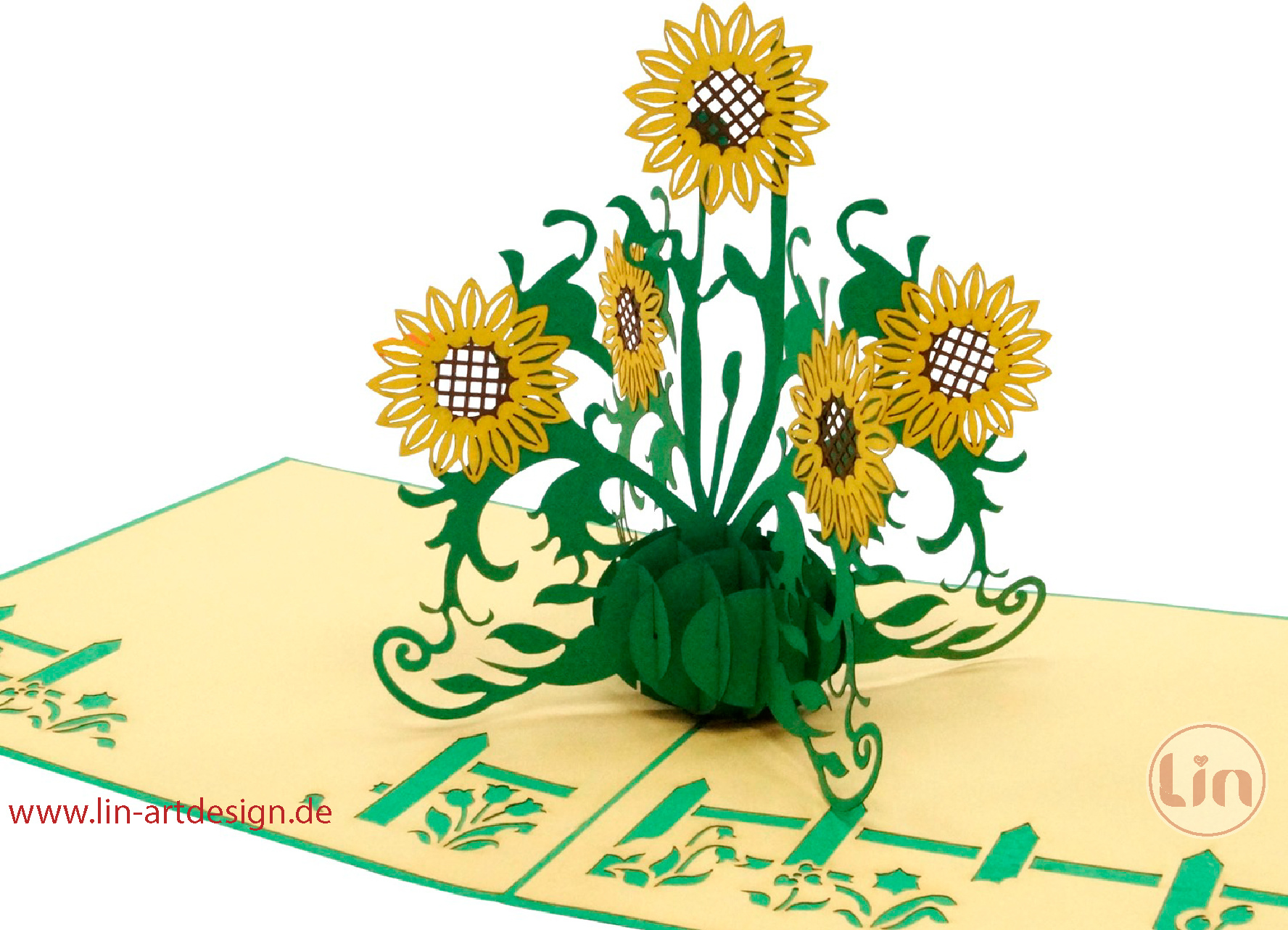 Pop up greeting card with flowers, Birthday greeting card, Mother's day, Nature, Sunflowers, No. 335