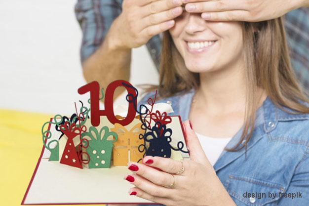LIN17631, POP UP 3D Karte, Pop Up Geburtstagskarte 10 Jahre, Grußkarte 10. Geburtstag, Pop Up Karte, POP UP Karten Geburtstag, Hochzeitstag 10 Jahre, Jubiläum 10 Jahre, N364