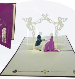 Pop up wedding card, bridal pair in castle garden (violet)