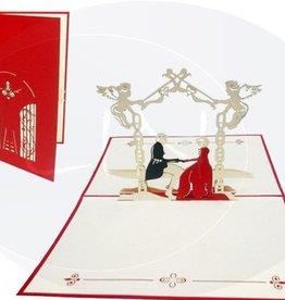 Pop Up Hochzeitskarte, Brautpaar im Schlossgarten (rot)