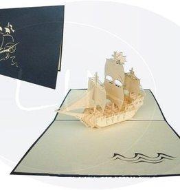 Pop up birthday card, sailing boat galleon (var.1) (blue)