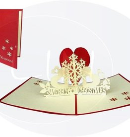 Pop up christmas card, snowflake with heart