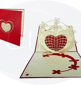 Pop up greeting card, stars and hearts