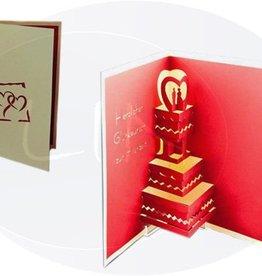 Pop Up Hochzeitskarte, Hochzeitstorte (creme-DE)
