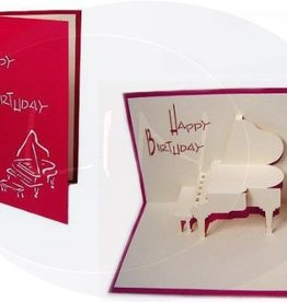 Pop up greeting card, piano (red)