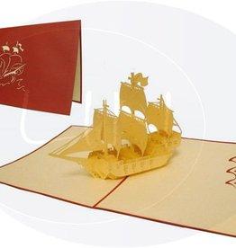 Pop up birthday card, sailing boat galleon (var. 1) (red)