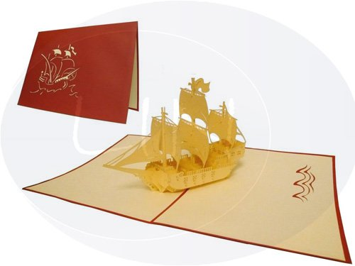 Sailing boat galleon (var. 1) (red)