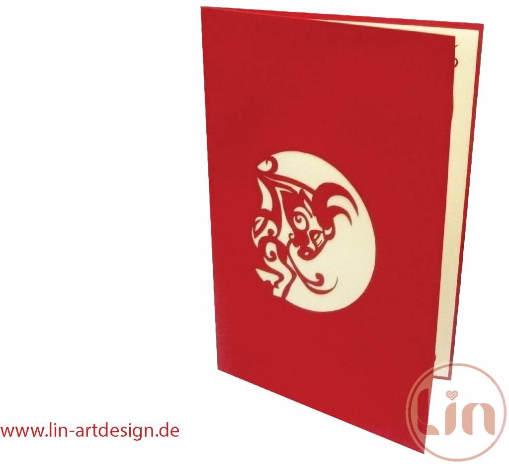 LIN17016, Pop Up Karten, 3D Grußkarten, Tierkarten, Geburtstagskarten, Sternzeichen Stier