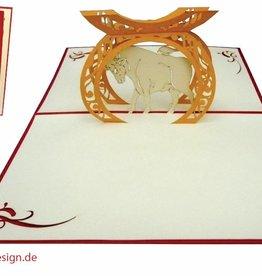Pop Up Karten, 3D Grußkarten, Tierkarten, Geburtstagskarten, Sternzeichen Stier
