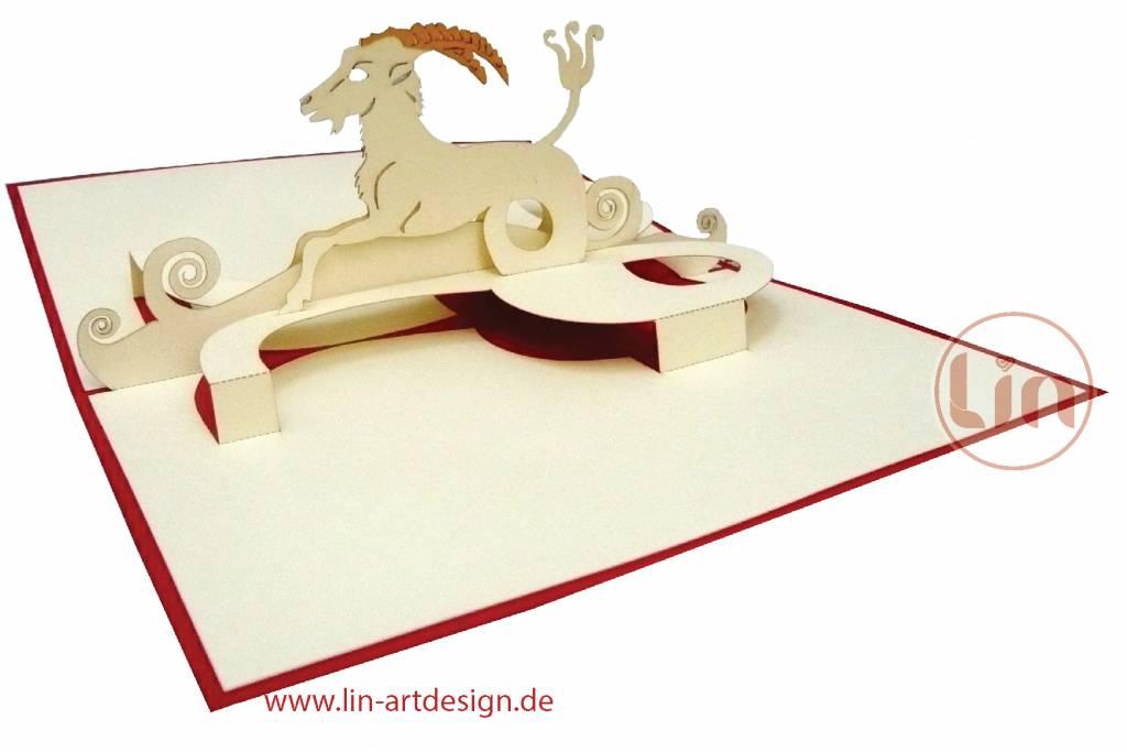 Pop Up Karte, Sternzeichen Steinbock