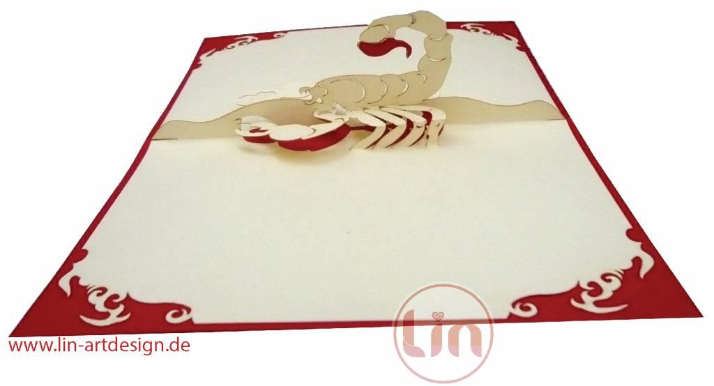 Pop Up Karte, Sternzeichen Skorpion