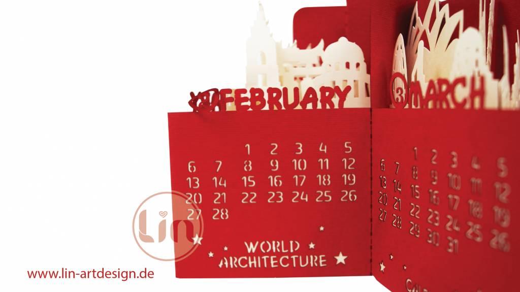Calendar 2019, POP UP 3D Architecture Calendar, exclusive desk diary