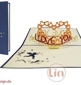 "Pop up greeting card, heart ""I love you"" (blue)"