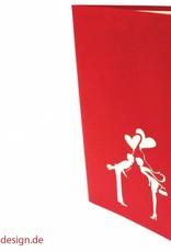 Pop Up 3D Karte, Valentinskarte, Hochzeitseinladung, Hochzeitskarte, Brautpaar Kuss, N72