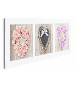 Schilderij Bloemen harten