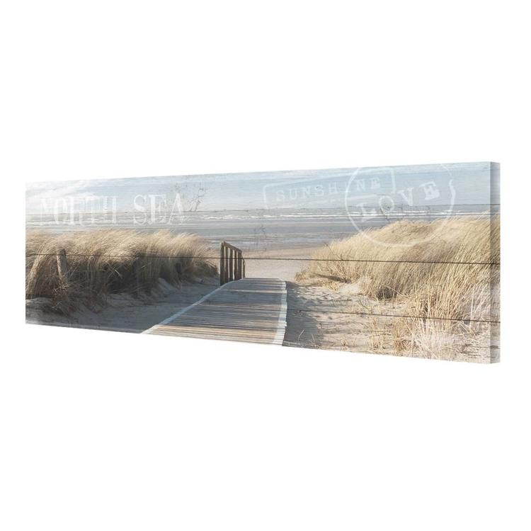 Duinpad noordzeestrand  - Schilderij 80 x 30 cm